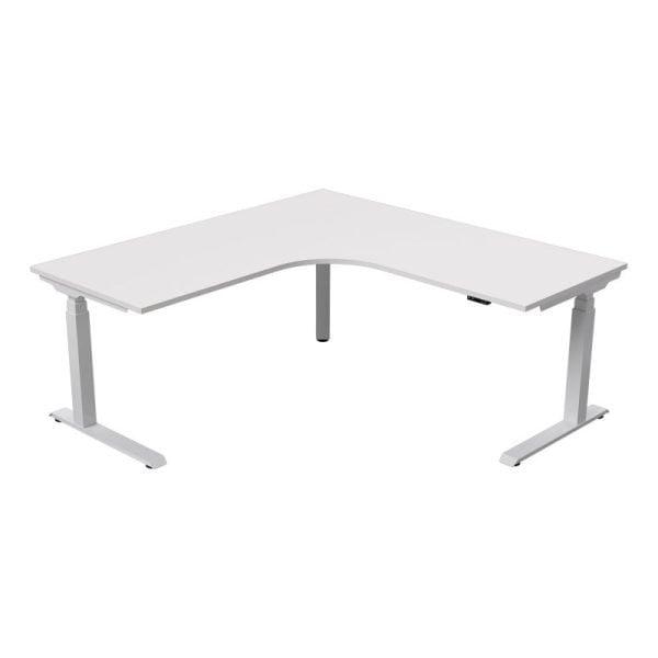 strata electric - corner - workstation-white base - white top-sydney-ergonomic-desk
