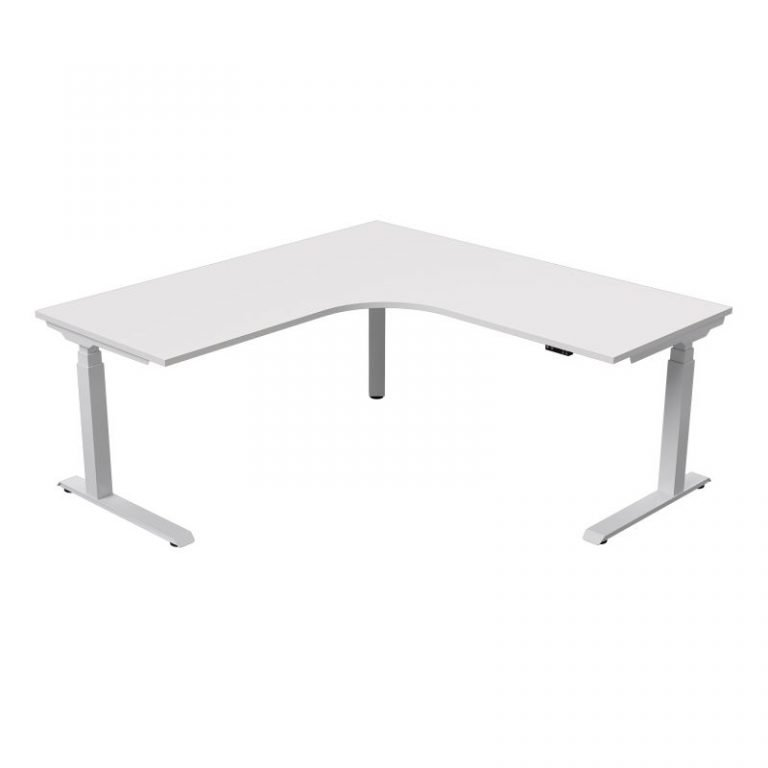 strata electric - corner - workstation-white base - white top-sydney-ergonomic-desk