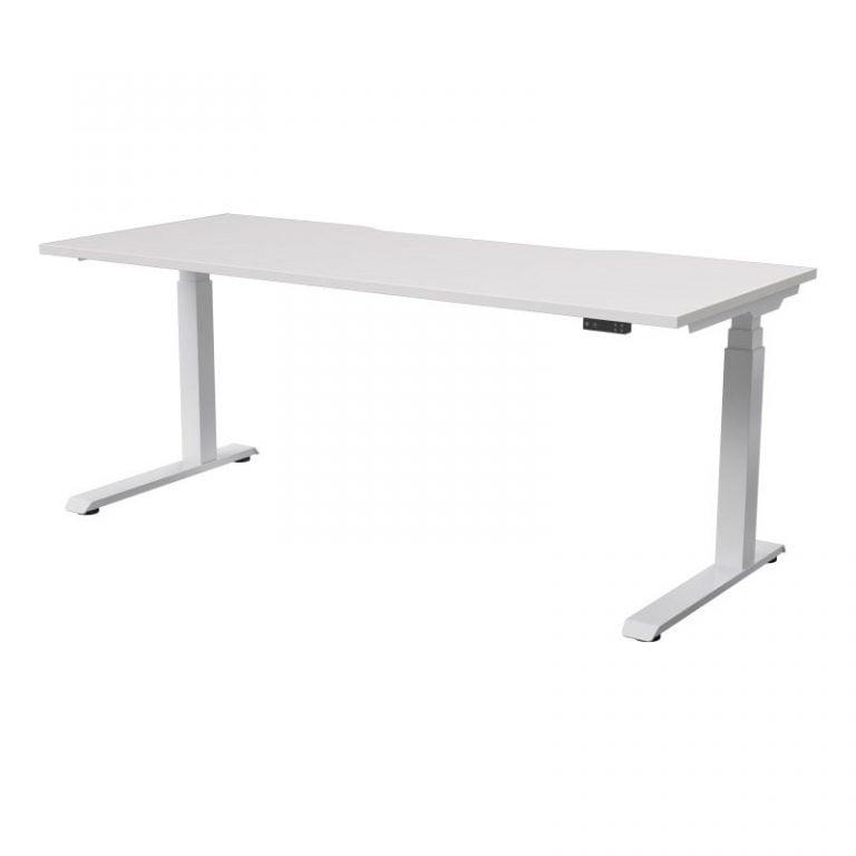 strata electric - straight - white base - white top - sydney-ergonmic-desk