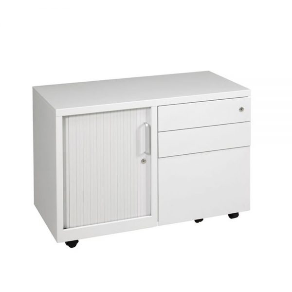 ULTICADD9045LHS-Ultimet-Storage-Caddy-Unit-with-Tambour-Left-Hand-Metal-Furniture-1-WHite