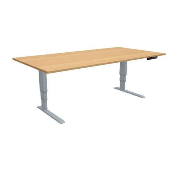 ELevar Desk Silver Frame Oak Top