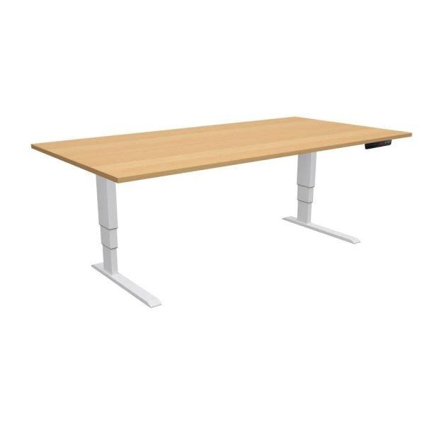 ELevar Desk White Frame Oak Top