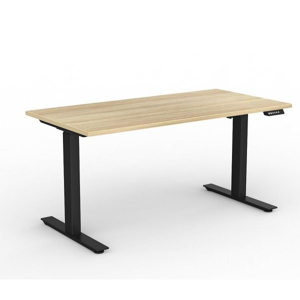 Agile_Electric_Height_Adjustable_Desk_Black_Frame_Oak_Worktop