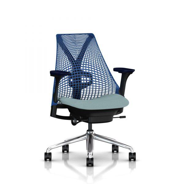 Sayl Chair Blue Backrest Black trim Polished Base