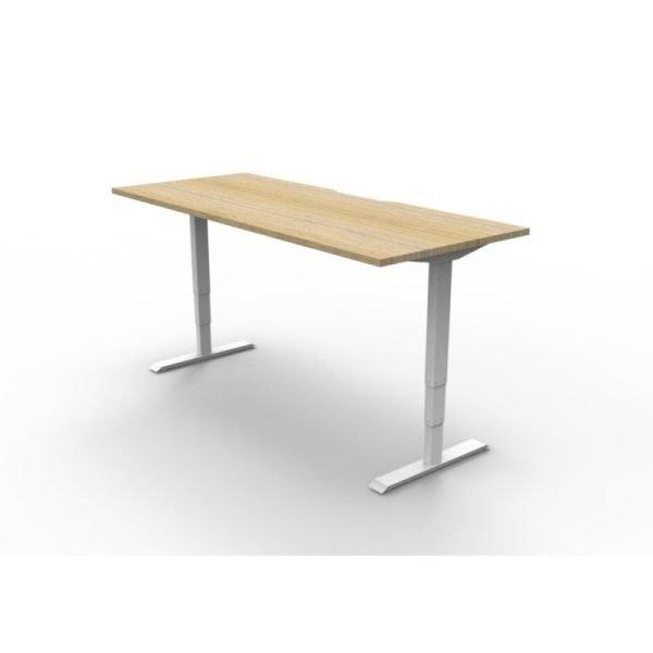 Boost Height Adjustable Electric Desk Oak Worktop WHite Frame
