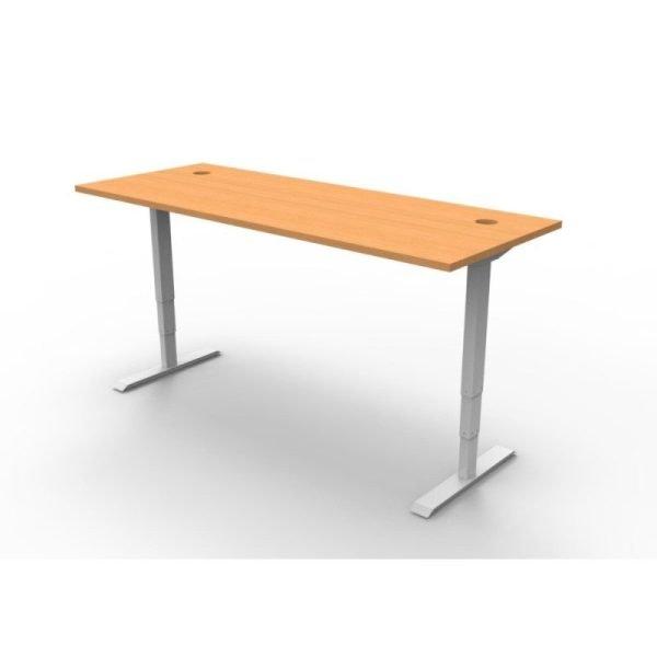 Boost Electric Height Adjustable Desk Beech Worktop White Frame